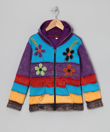 Lilac Rainbow Stripe Zip-Up Hoodie - Toddler & Girls