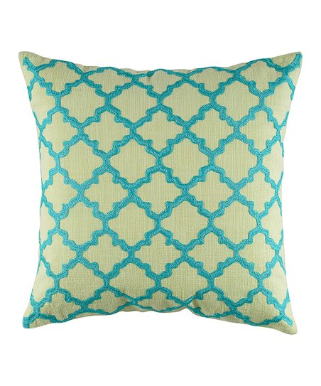 Lime Green & Aqua Lattice Pillow