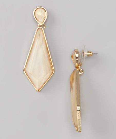 Gold &amp; Shimmer Stone Earrings