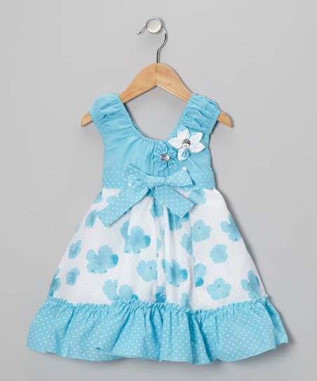 Blue Flower Bow Dress - Girls