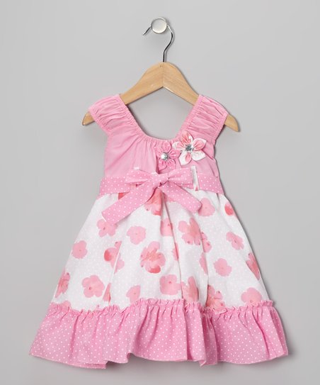 Pink Flower Bow Dress - Toddler & Girls