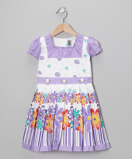 Lavender Flower Cap-Sleeve Dress - Toddler & Girls