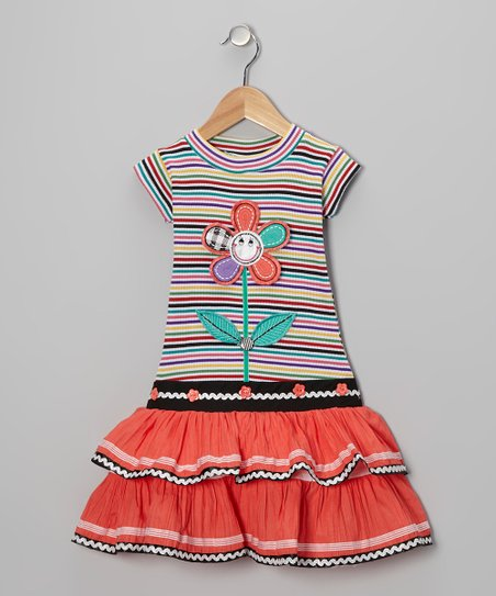 Orange Stripe Flower Ruffle Dress - Girls