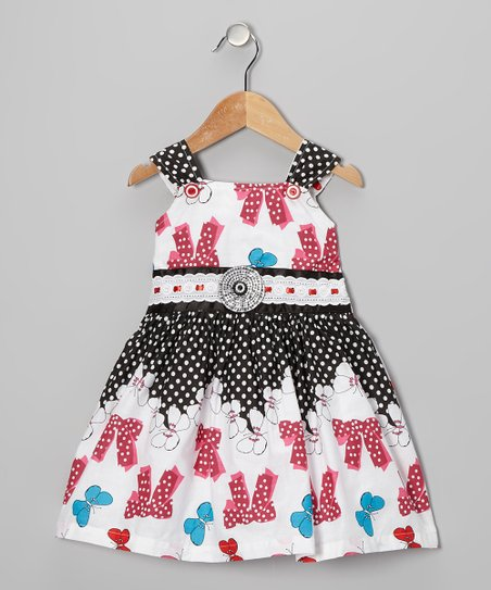 Red Polka Dot Bow Dress - Girls