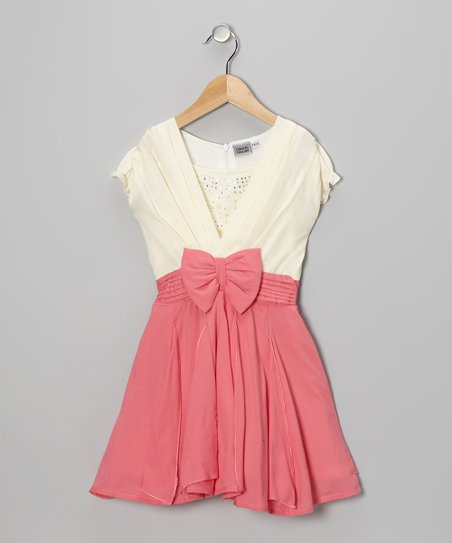 Pink &amp; White Rhinestone Bow Dress - Girls