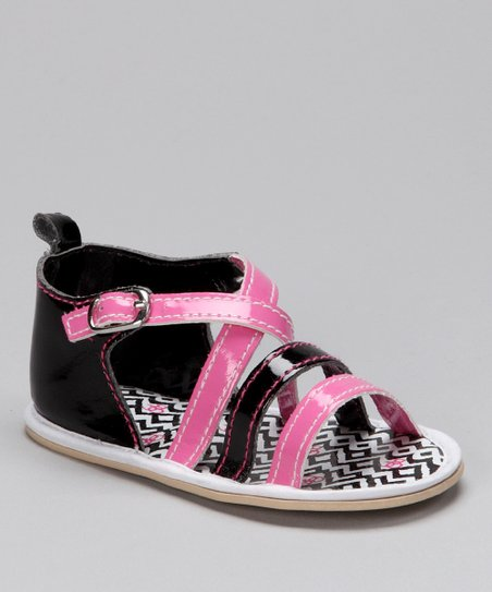 Black &amp; Pink Zigzag Sandal