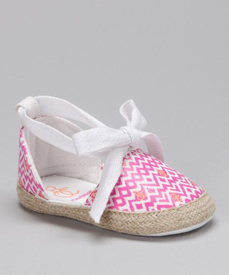Rocawear Pink &amp; White Zigzag Flat