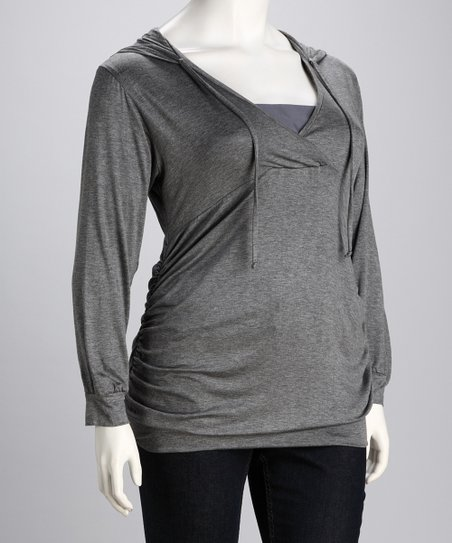 Charcoal Hooded Top - Plus