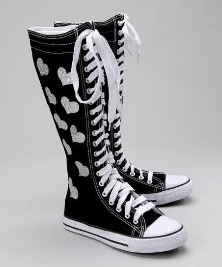 Black Hearts Hi-Top Sneaker