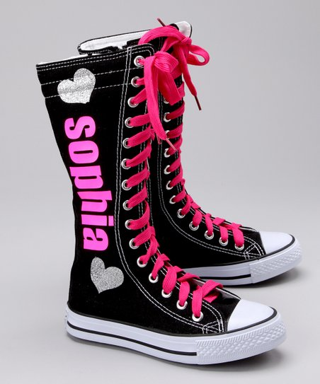 Black &amp; Pink Personalized Hi-Top Sneaker