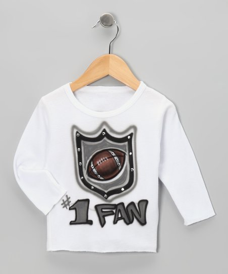 White & Gray '#1' Fan' Thermal - Toddler & Girls