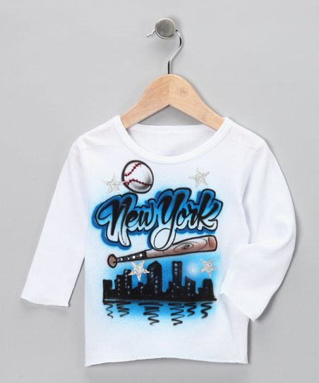 White & Blue 'New York' Thermal - Toddler & Girls