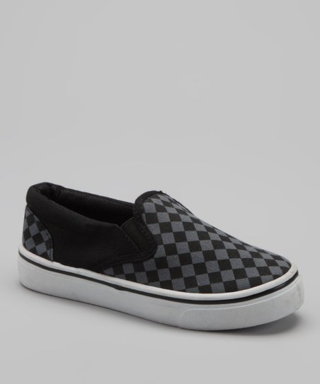 Gray Checkerboard Slip-On Sneaker