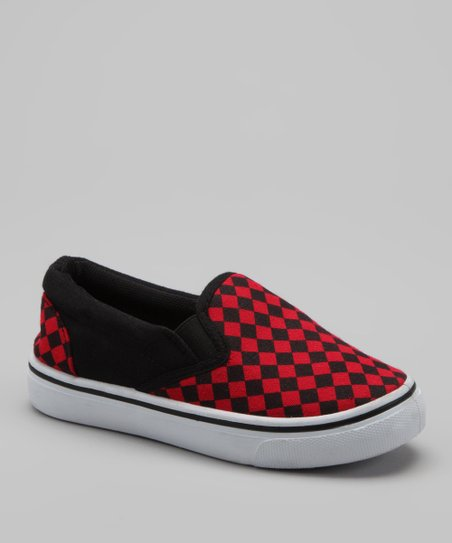 Red Checkerboard Slip-On Sneaker