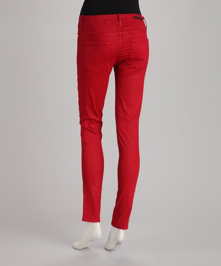 Rockstar Sushi Red 5-Pocket Coated Jeggings
