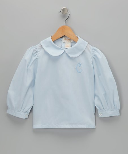 Rosalina Blue Initial Blouse - Infant, Toddler & Girls