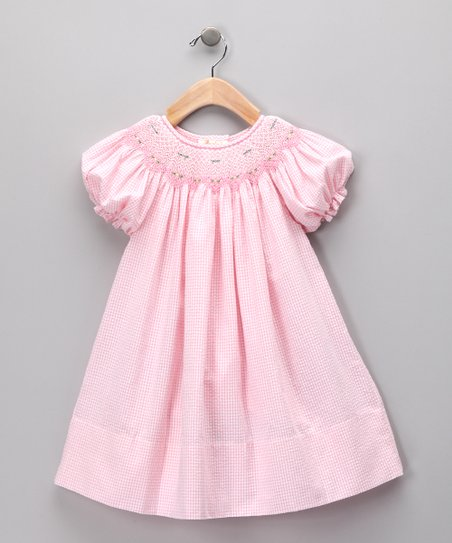 Light Pink Seersucker Bishop Dress - Girls
