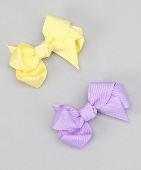 Purple & Yellow Bow Clip Set