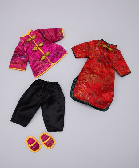Red Chinese Doll Outfit Set