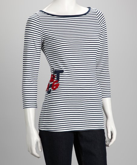 Navy Stripe Julie Top - Women