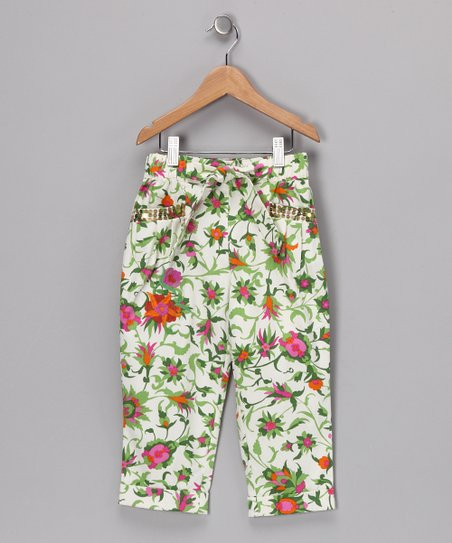 Green & Pink Bertinelli Pants - Girls