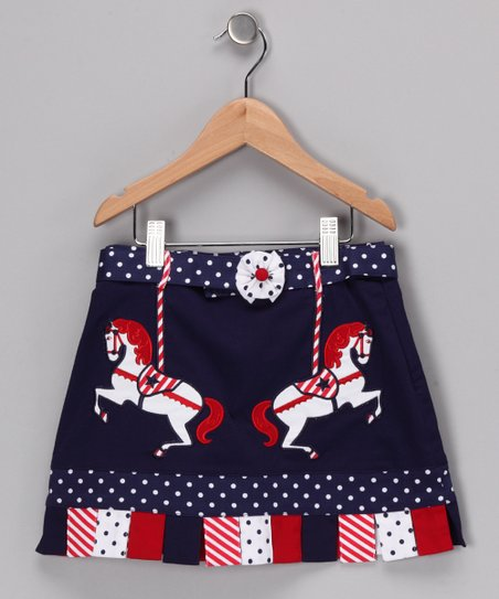 Navy & Red Clark Skirt - Girls