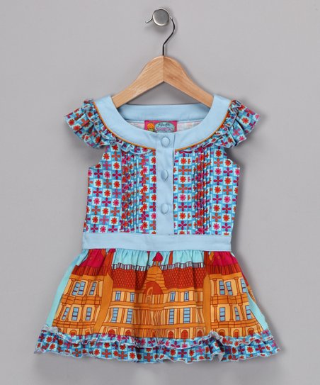 Light Blue & Red Cora Top - Girls
