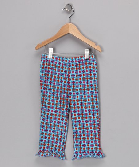 Light Blue &amp; Red Cora Leggings - Girls