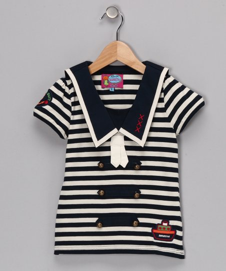 Navy & Ivory Stripe Cummings Tee - Girls