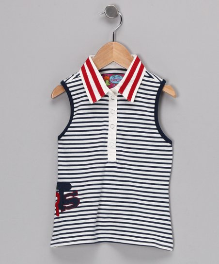 White & Navy Sue Polo - Girls
