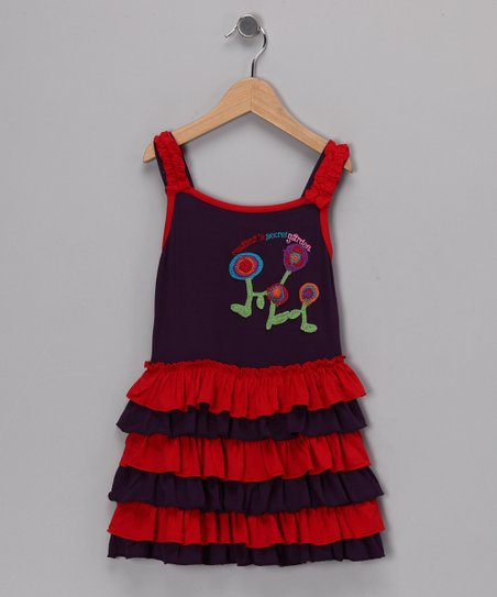 Purple & Red Valerie Dress - Girls