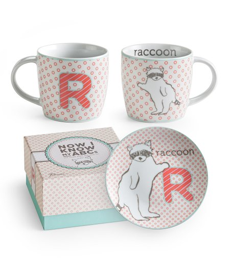 'R is for Raccoon' Mug & Plate