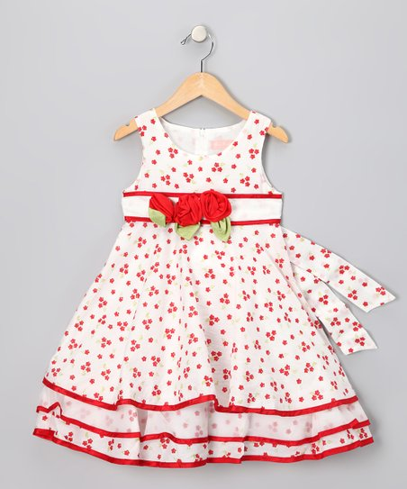 White & Red Flower Dress - Infant, Toddler & Girls
