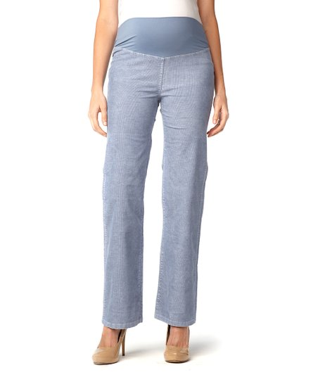 Washed Blue Corduroy Mid-Belly Maternity Wide-Leg Pants