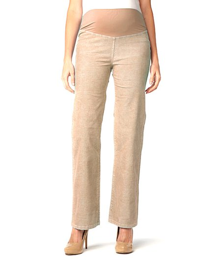 Washed Camel Corduroy Mid-Belly Maternity Wide-Leg Pants