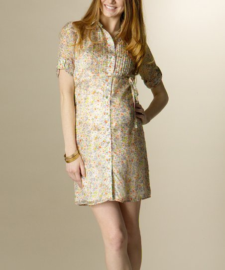 Apricot Floral Silk Maternity Shirt Dress
