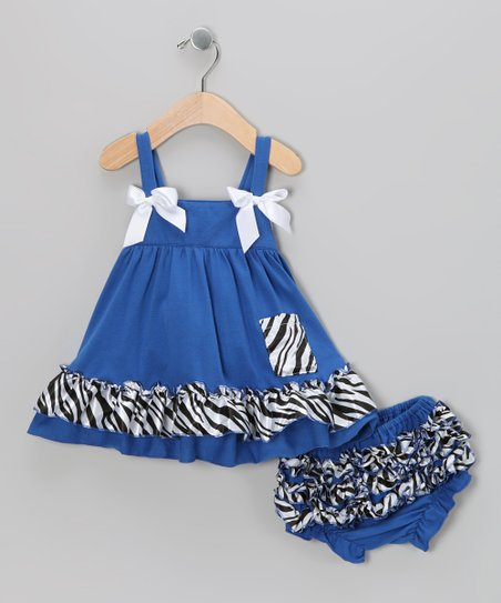 Royal Blue Zebra Swing Top & Diaper Cover - Infant