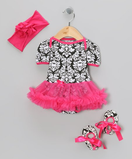 Hot Pink Damask Ruffle Skirted Bodysuit Set - Infant