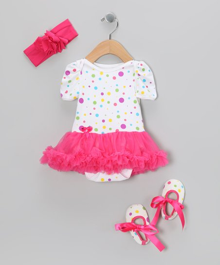 Hot Pink Polka Dot Ruffle Skirted Bodysuit Set - Infant