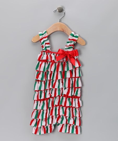 Red & Green Stripe Ruffle Romper - Infant & Toddler