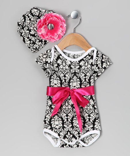 Black Damask Bow Bodysuit & Beanie