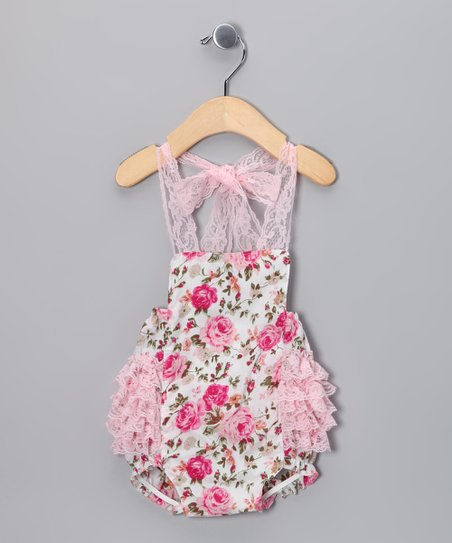 Pink Floral Lace Bubble Bodysuit - Infant