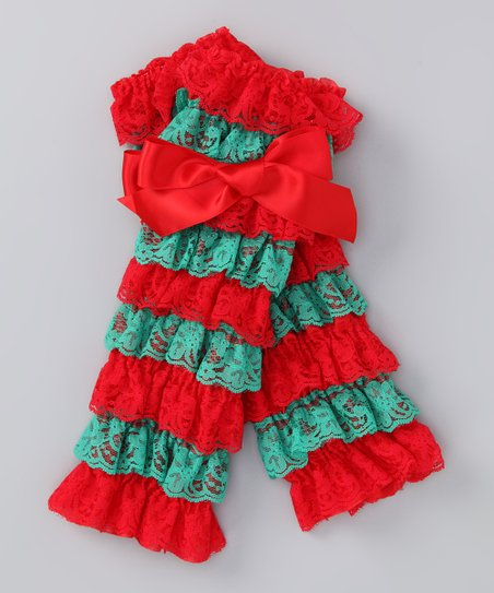 Red & Green Lace Ruffle Leg Warmers