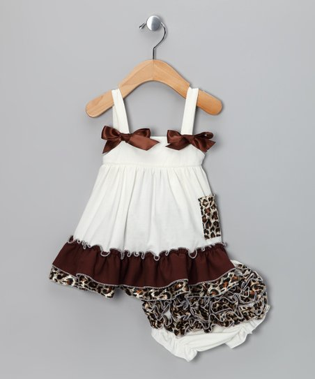 Ivory Leopard Ruffle Swing Top & Diaper Cover - Infant