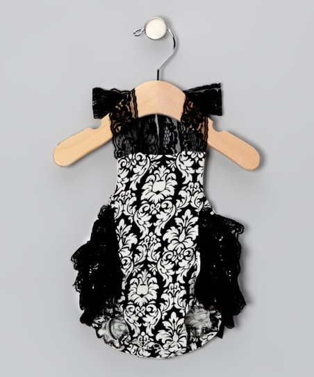 Black Damask Lace Bubble Bodysuit