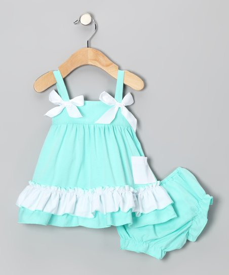 Teal Ruffle Swing Top & Diaper Cover