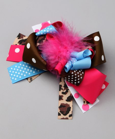Brown & Pink Polka Dot Bow Clip