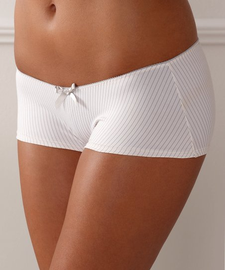 Cream & Gray Stripe Lauren Boyshorts