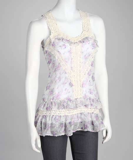 Purple Floral Crochet Tank