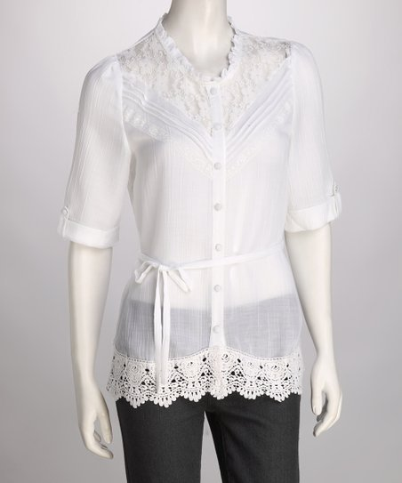 White Lace Button-Up Top